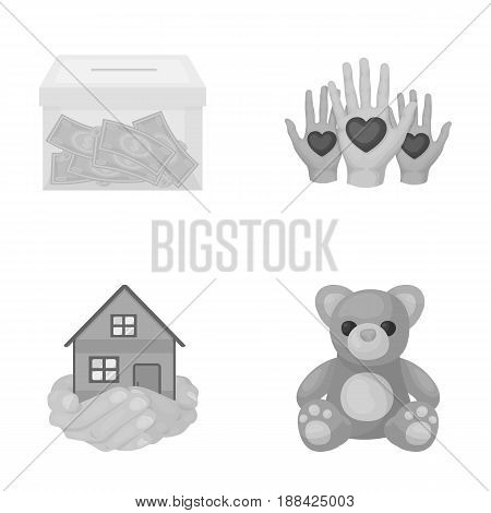 Boxing glass with donations, hands with hearts, house in hands, teddy bear for charity. Charity and donation set collection icons in monochrome style vector symbol stock illustration .