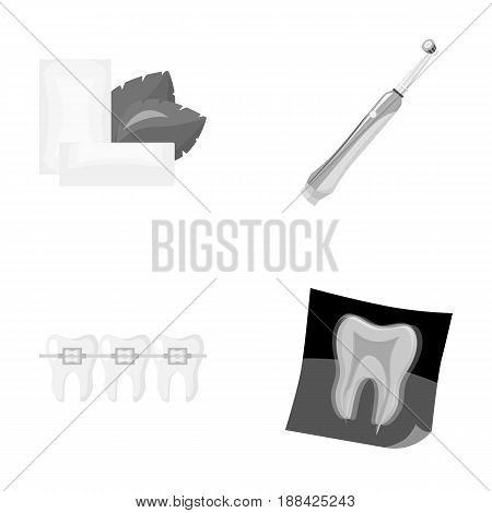 Mint chewing gum with mint leaves, toothbrush with bristles, bregettes with teeth, X-ray of the tooth. Dental care set collection icons in monochrome style vector symbol stock illustration .