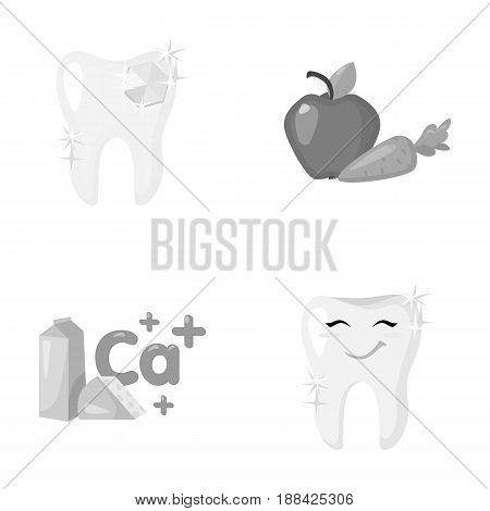A tooth with brilliant sparkling, an apple with carrots useful for teeth, milk in a box, cheese and a sign of calcium, a smiling tooth. Dental care set collection icons in monochrome style vector symbol stock illustration .