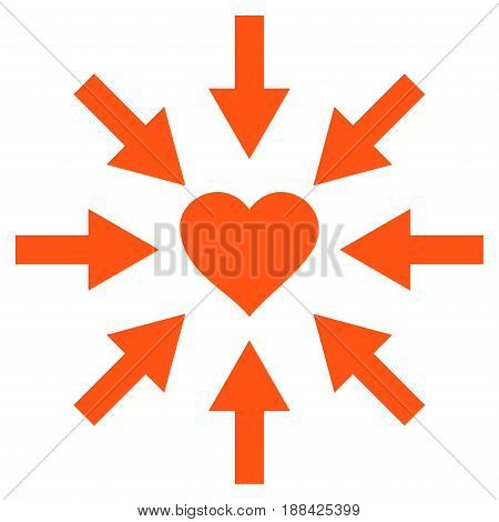 Impact Love Heart flat icon. Vector orange symbol. Pictograph is isolated on a white background. Trendy flat style illustration for web site design, logo, ads, apps, user interface.