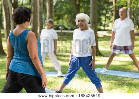 Seniors Doing Yoga With An Instructor