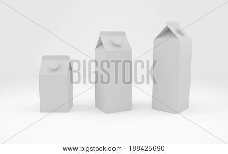 Mock-up of milk and juice carton packaging in different size. 3D rendering.