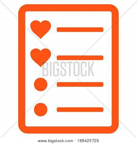 Love List Page flat icon. Vector orange symbol. Pictogram is isolated on a white background. Trendy flat style illustration for web site design, logo, ads, apps, user interface.