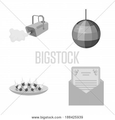 A video camera with smoke, a twirling holiday ball, a plate of sandwiches, an envelope with a greeting card. Event services set collection icons in monochrome style vector symbol stock illustration .