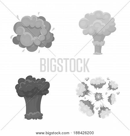 Flame, sparks, hydrogen fragments, atomic or gas explosion. Explosions set collection icons in monochrome style vector symbol stock illustration .