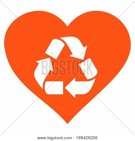 Love Recycle flat icon. Vector orange symbol. Pictograph is isolated on a white background. Trendy flat style illustration for web site design, logo, ads, apps, user interface.