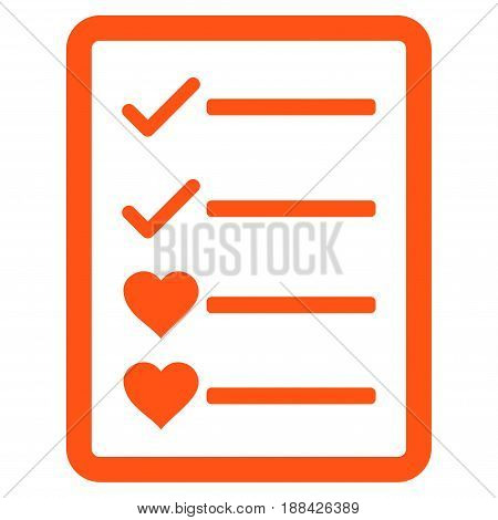 Lovely List Page flat icon. Vector orange symbol. Pictograph is isolated on a white background. Trendy flat style illustration for web site design, logo, ads, apps, user interface.