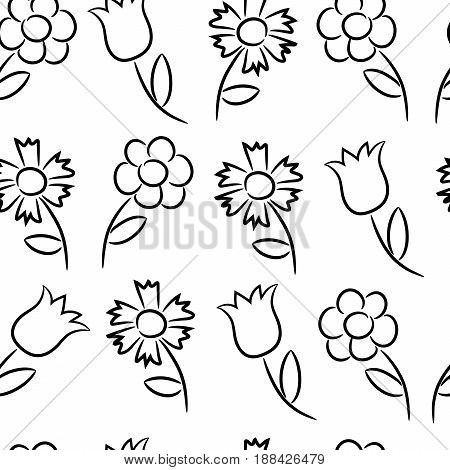 Seamless pattern from black outlines of different flowers. Vector illustrations.