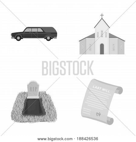 Black cadillac to transport the grave of the deceased, a church for a funeral ceremony, a grave with a tombstone, a death certificate. Funeral ceremony set collection icons in monochrome style vector symbol stock illustration .