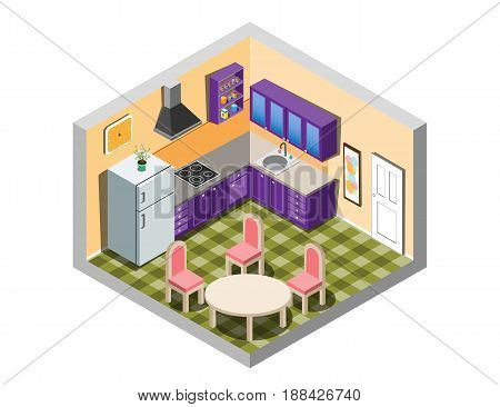 Kitchen isometric with furniture. Vector illistration. isometric room