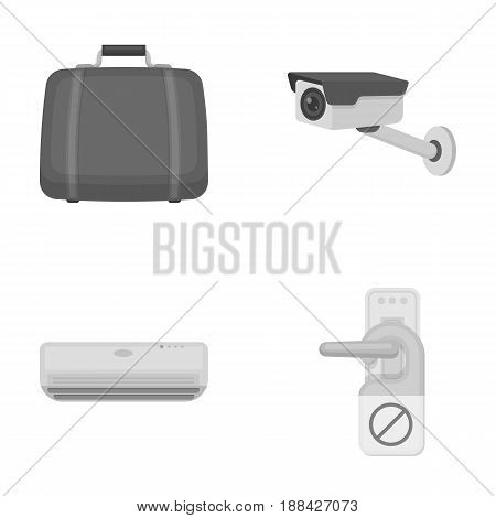 Luggage, surveillance camera, air conditioning, do not disturb the sign.Hotel set collection icons in monochrome style vector symbol stock illustration .
