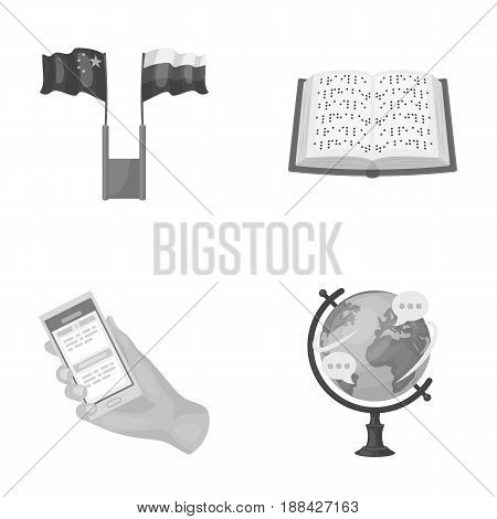 Two flags, a book for the blind, a hand with a phone with translated text, a globe of the Earth. Interpreter and translator set collection icons in monochrome style vector symbol stock illustration .