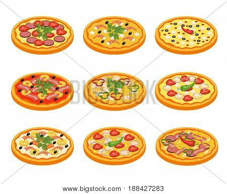 Pizza icons set with fruit vegetables meat and fish flat isolated vector illustration