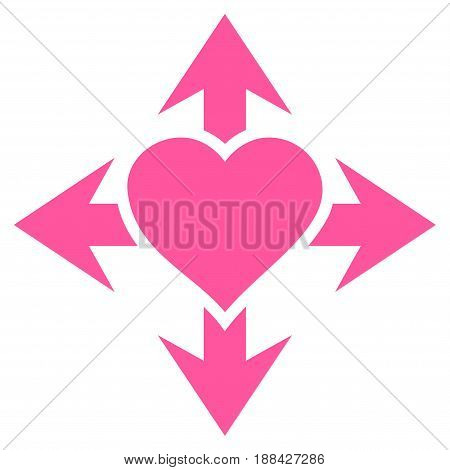 Expand Love Heart flat icon. Vector pink symbol. Pictogram is isolated on a white background. Trendy flat style illustration for web site design, logo, ads, apps, user interface.