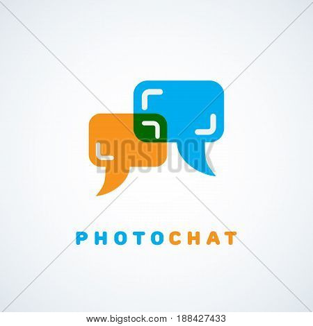 Talk chat bubbles in the form of viewfinder. Vector illustration.