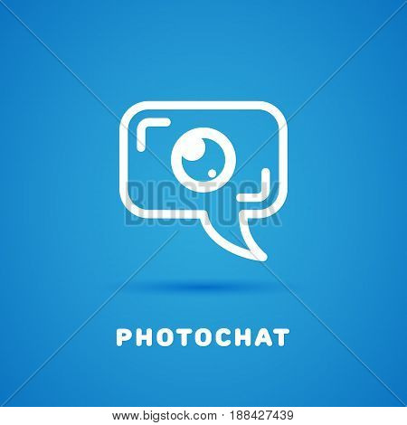 Talk chat bubble in the form of camera. Vector illustration.