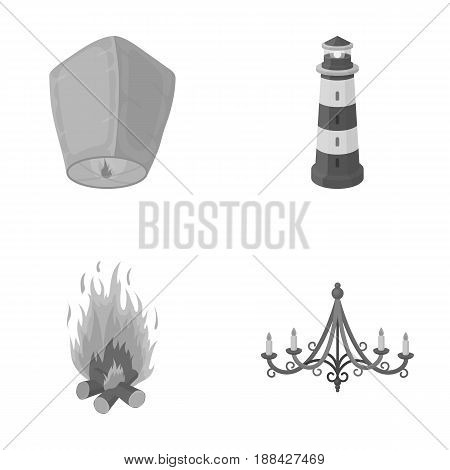 A light lantern, a lighthouse, a fire, a chandelier with candles.Light source set collection icons in monochrome style vector symbol stock illustration .