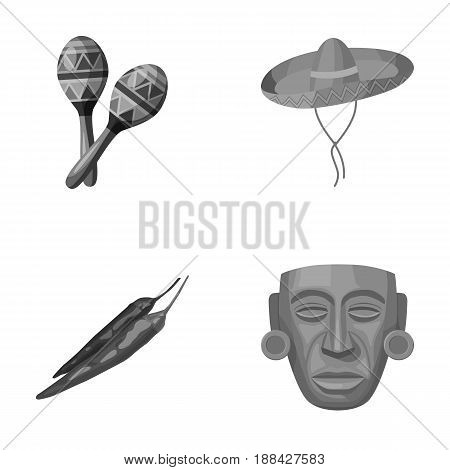 Maracas national musical instrument, sambrero traditional Mexican headdress, red pepper, bitter, idol-deity.Mexico country set collection icons in monochrome style vector symbol stock illustration .