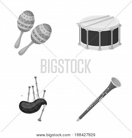 Maracas, drum, Scottish bagpipes, clarinet. Musical instruments set collection icons in monochrome style vector symbol stock illustration .
