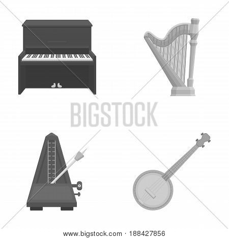 Banjo, piano, harp, metronome. Musical instruments set collection icons in monochrome style vector symbol stock illustration .