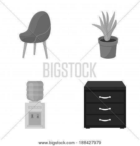 A red chair with a comfortable back, an aloe flower in a pot, an apparatus with clean water, a cabinet for office papers. Office Furniture set collection icons in monochrome style vector symbol stock illustration .