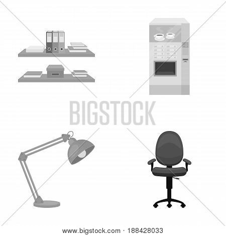 Shelves, folders and notebooks with business records, a coffee machine with cups, an armchair with a backrest on wheels, a desk lamp. Office Furniture set collection icons in monochrome style vector symbol stock illustration .