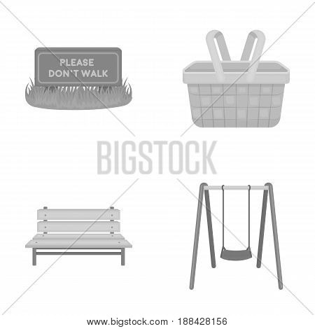 Lawn with a sign, a basket with food, a bench, a swing. Park set collection icons in monochrome style vector symbol stock illustration .
