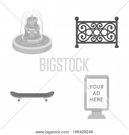Fountain, fence, skate, billboard.Park set collection icons in monochrome style vector symbol stock illustration .