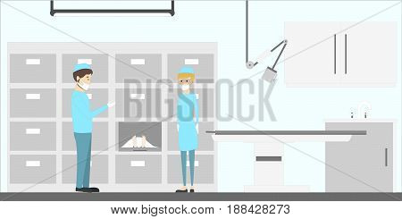Mortuary service illustration. Clean white office with corpses.