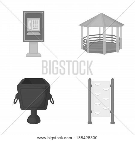 Telephone automatic, gazebo, garbage can, wall for children. Park set collection icons in monochrome style vector symbol stock illustration .