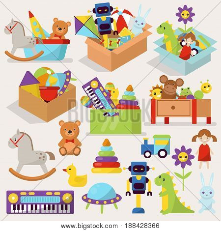 Boxes of kid toys vector illustration stuffed blocks cartoon cute plaything graphic childhood container. Cardboard children colorful many ball play gift.