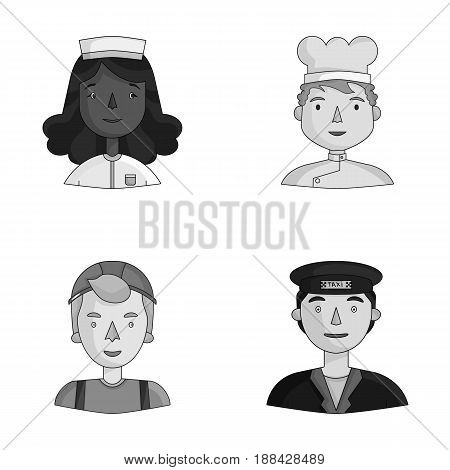 A nurse in a dressing gown, a cook in a hood, a builder in a helmet, a taxi driver in a cap. People of different professions set collection icons in monochrome style vector symbol stock illustration .