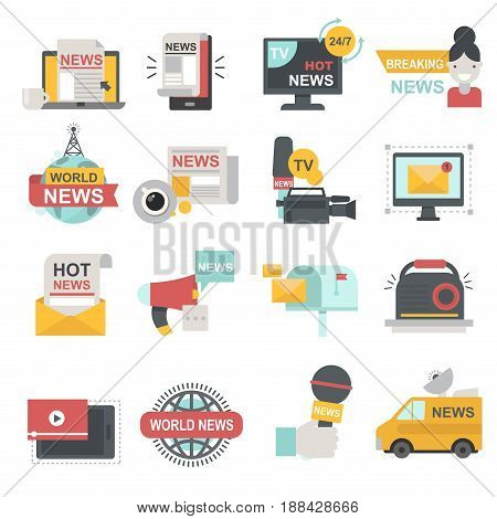 Mass media icons set with telecommunications radio and beaking news broadcast TV or website symbols flat isolated vector illustration. Broadcasting information interview reporter journalism press.