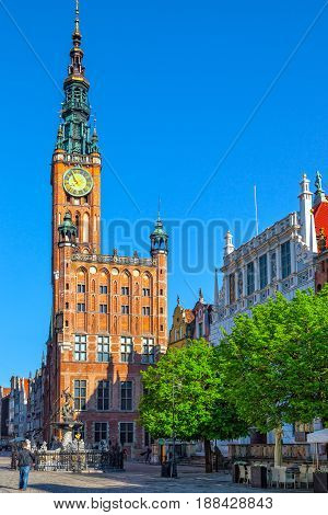 Long Street one of Europe's most beautiful town with renaissance building of the former Town Hall in Gdansk Poland.