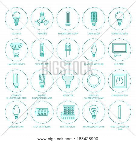 Light bulbs flat line icons. Led lamps types, fluorescent, filament, halogen, diode and other illumination. Thin linear signs for idea concept, electric shop. Blue color.