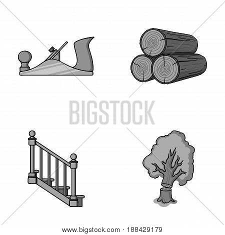 Logs in a stack, plane, tree, ladder with handrails. Sawmill and timber set collection icons in monochrome style vector symbol stock illustration .