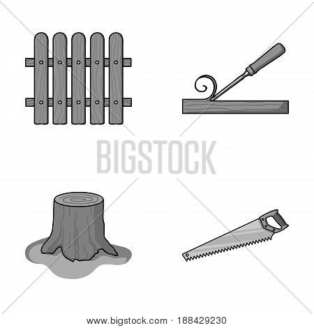 Fence, chisel, stump, hacksaw for wood. Lumber and timber set collection icons in monochrome style vector symbol stock illustration .
