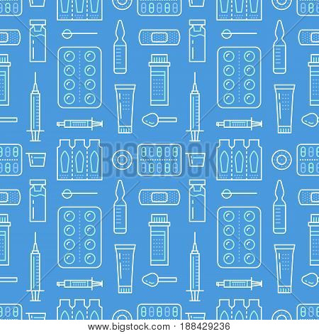 Medical, drugstore seamless pattern, medicament vector background blue color. Medicines antibiotics, vitamins, painkiller, pills. Healthcare cute repeated illustration for hospital, clinic.
