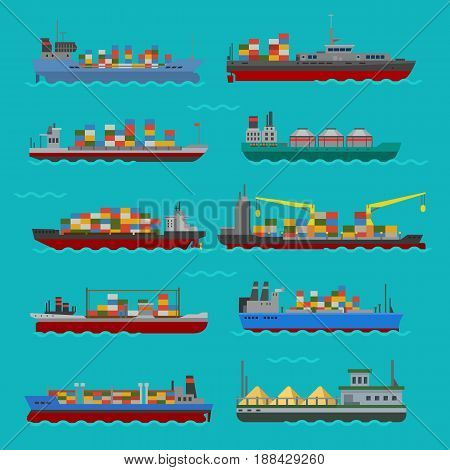 Set of commercial delivery cargo vessels and tankers shipping bulk carrier train ferry freight industrial goods side view isolated tankers boat vector illustration