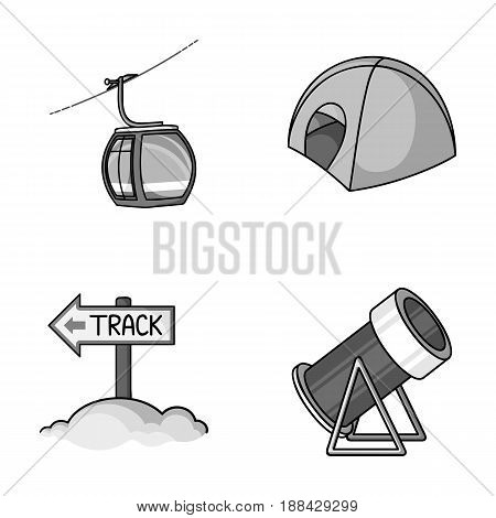 Funicular, tent, road sign, snow cannon. Ski resort set collection icons in monochrome style vector symbol stock illustration .
