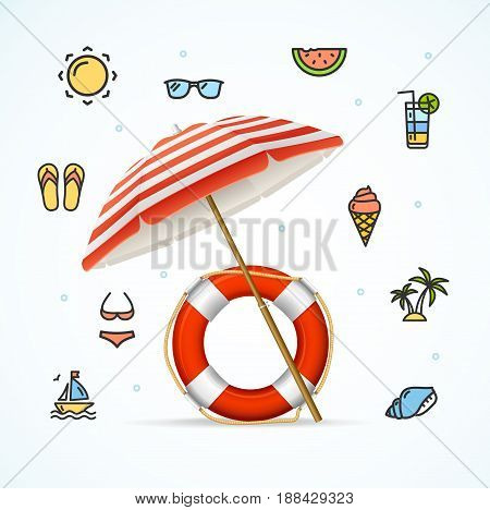 Hello Summer Concept Vacation on Beach with Umbrella and Life Buoy Happy Time. Vector illustration