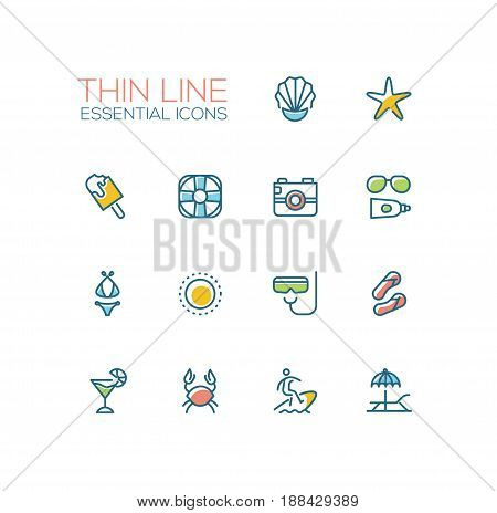 At the Beach - modern vector line design icons set. Seashell, sea star, ice cream, life ring, camera, sun glasses, sunscreen, swimwear, palm tree, snorkel, sandshoes, cocktail crab surfing lounge chair