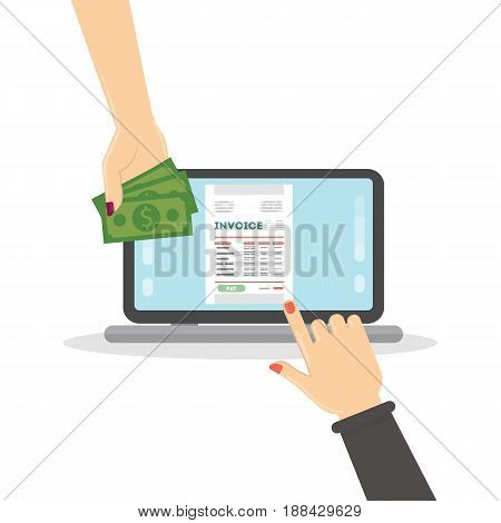 Invoice concept illustration. Laptop with female hands, documents and money.