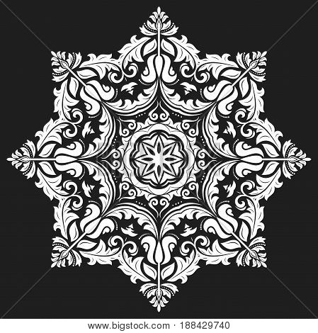 Oriental white pattern with arabesques and floral elements. Traditional classic ornament. Vintage pattern with arabesques