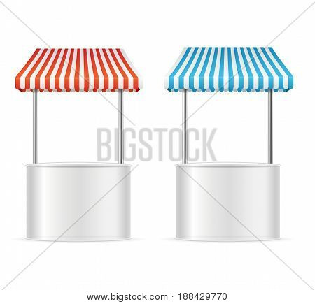 Realistic Template Blank White Street Fast Food Market Table Set witch Sunshade Stripe. Vector illustration