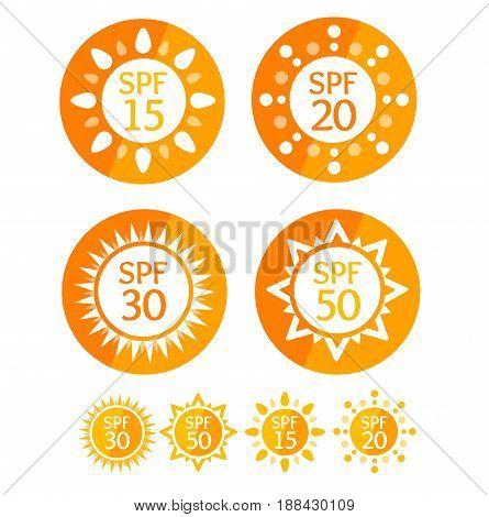 Sun Cream Round Orange Labels Spf Set Symbol Summer Solar Skin Protect. Vector illustration