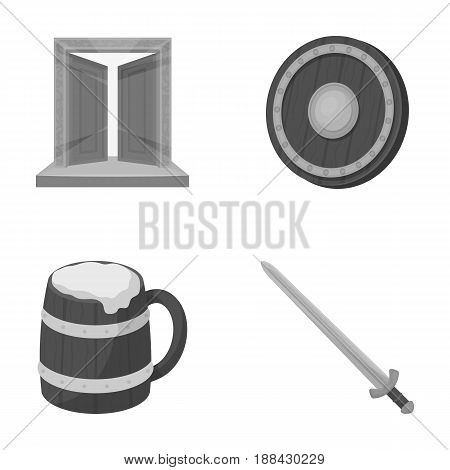 A gate to the treasure, a shield for protection, a mug with a bra, a sword. Vikings set collection icons in monochrome style vector symbol stock illustration .
