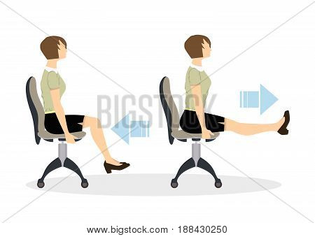 Sport exercises for office. Office yoga for tired employees with chair and table. Legs workout.