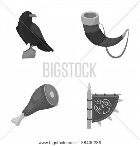 Sitting crow, horn with drink, ham, victory flag. Vikings set collection icons in monochrome style vector symbol stock illustration .