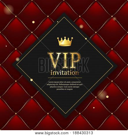 Quilted Invitation Card Pattern Background Vip Red with Gold Thread Luxury Expensive Concept Decorative Upholstery Soft Texture. Vector illustration